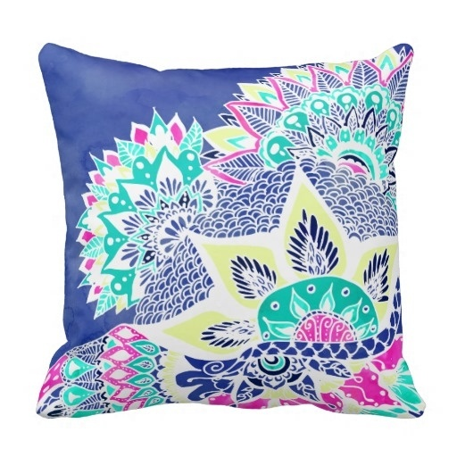 Best Case Bohemian Navy Floral Mandala Paisley Watercolor Throw Pillow Case (Size: 20