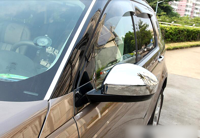 rearview mirror cover trim 2pcs for land rover discovery sport 2015 2016 car interior. Black Bedroom Furniture Sets. Home Design Ideas