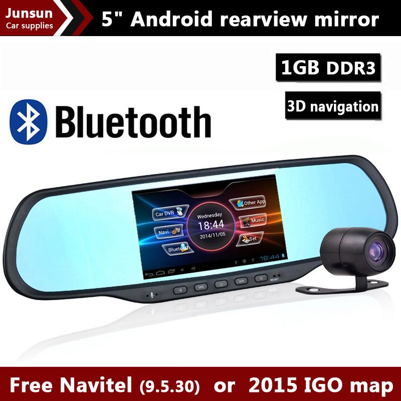 New 5 inch android rearview mirror car camera GPS Navigation Bluetooth DVR FHD 1080P WiFi FM 1GB RAM 8GB ROM Dual Cam Car DVRS(China (Mainland))