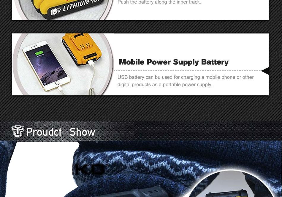 18В постоянного тока новый дизайн мобильного питания литиевая батарея аккумуляторная дрель