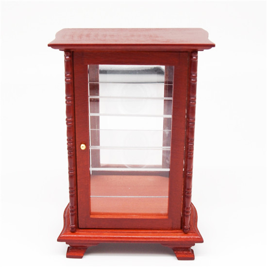 1:12 Miniature Wood Display Cabinet Mirror Shelving Dollhouse For Orcara Re-ment Doll Accessories(China (Mainland))