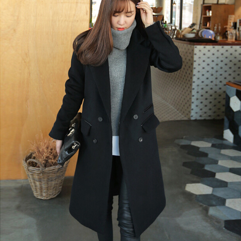 Ladies long black peacoat