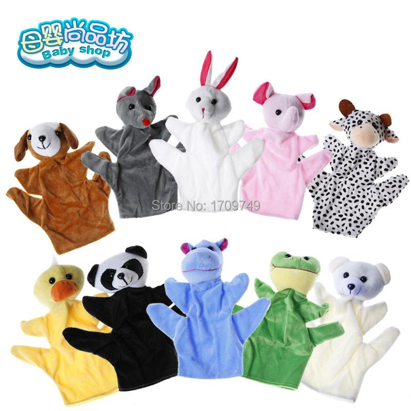 2015 hot selling Cute Big Size Animal Hand Puppet Dolls Plush Baby Child Zoo Animal Hand Glove Puppet Finger Sack Plush Toy(China (Mainland))