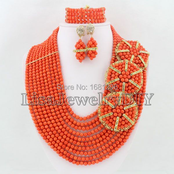 African Coral Beads Jewelry Sets Nigerian Wedding African Beads Jewelry Set Free Shipping    HD0731<br><br>Aliexpress
