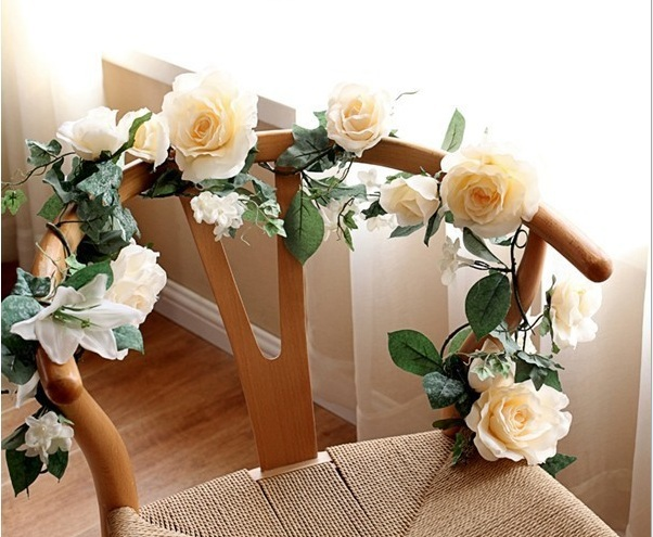 Free shipping 1 7M Artificial Silk Rose Flower Ivy Vine Leaf Garland Wedding Party Home Decor