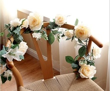 Artificial Silk Rose Flower Ivy Vine Leaf Garland