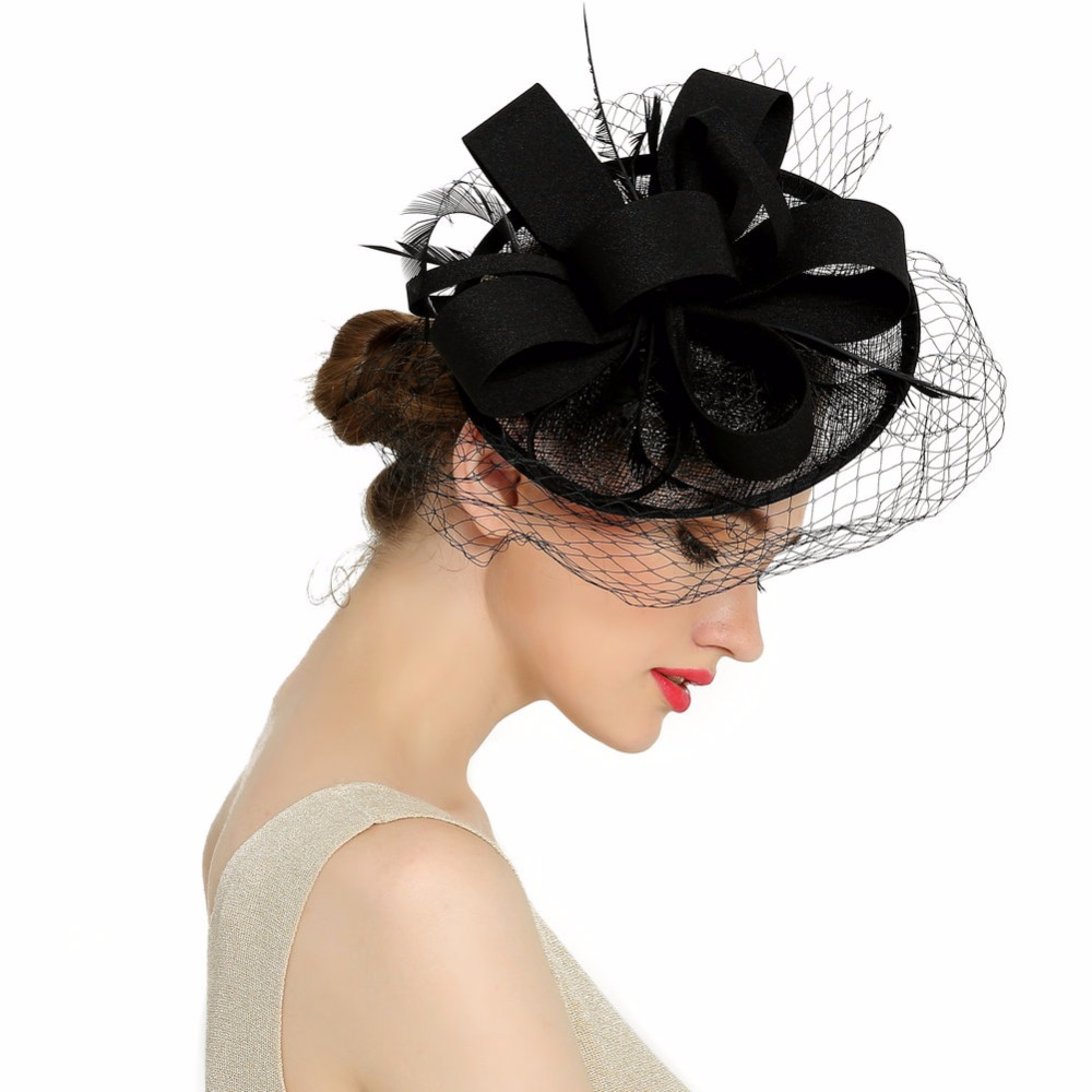 Newest Women Fancy Feather Fascinator Hats Black Birdcage Veil Wedding Hats and Fascinators hair accessories(China (Mainland))