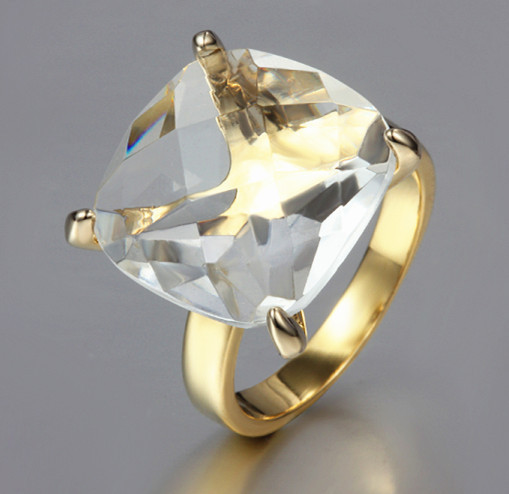 Clear Crystal and Simple beauty attractive ring 18K Yellow gold plated For Women Wedding 1803(China (Mainland))