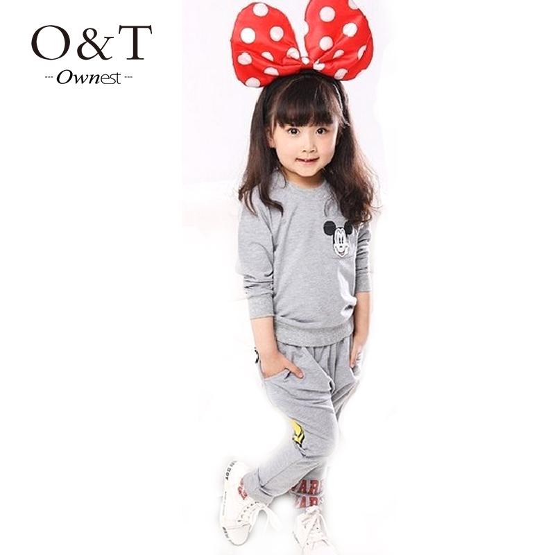 2015 Kids girls clothing sets children s suit shirt pants 2pcs autumn models girls sweater suit