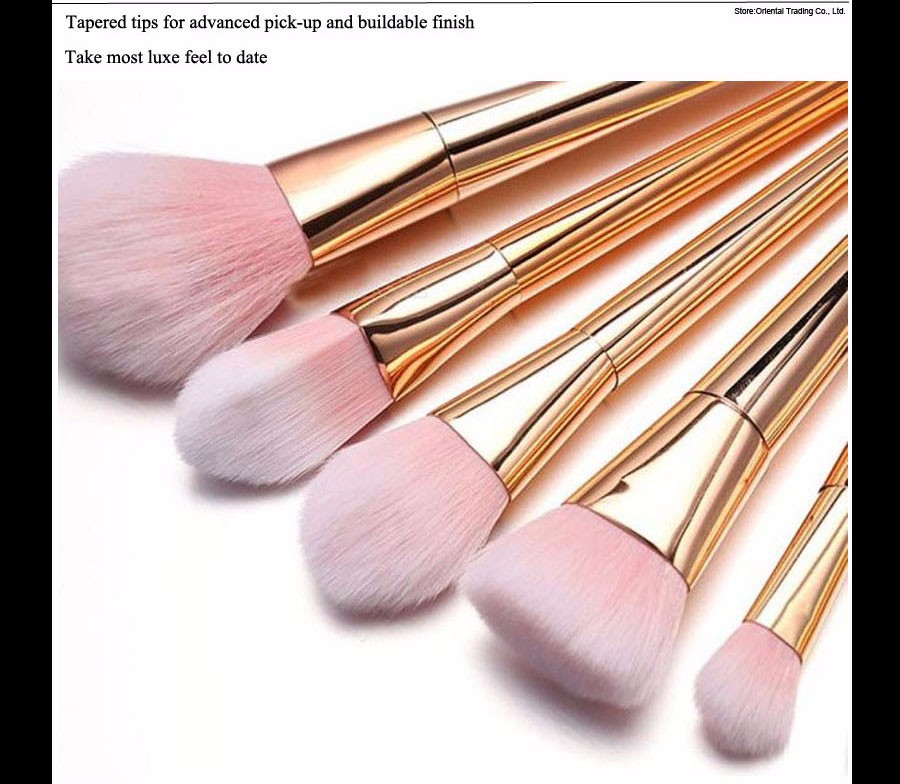3 Makeup Brushes Real Techniques Style Gold 2 pcs Synthetic Hair