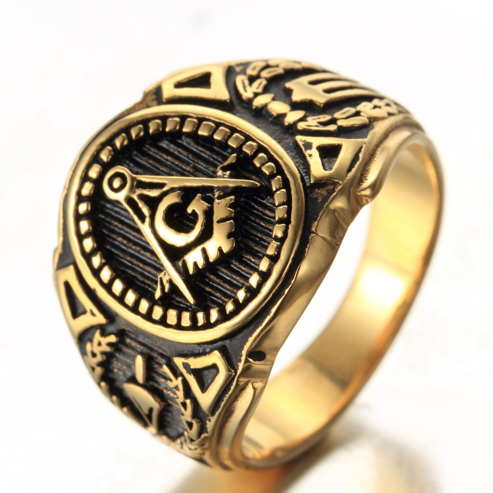 Mens Boys Freemason Gold Tone Free Mason 316L Stainless Steel Masonic Ring New US SIZE 8-14(China (Mainland))