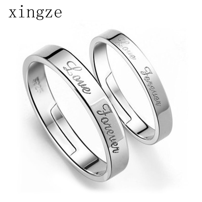 High quality silver plated couple rings simple English wedding bands silver plated couple rings opening fine jewelry wholesale(China (Mainland))