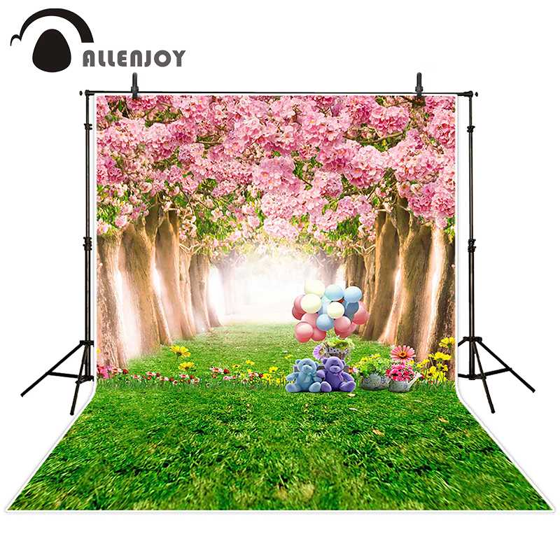 Allenjoy photographic background Teddy bear grass flower tree backdrops boy kids props digital 8 x 8 ft(China (Mainland))