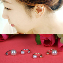Unique Gold Silver Plated Pearl Ear Clip U-Shaped Pierced Cuff Women Lady Bones Fashion Jewelry - Amader Store store