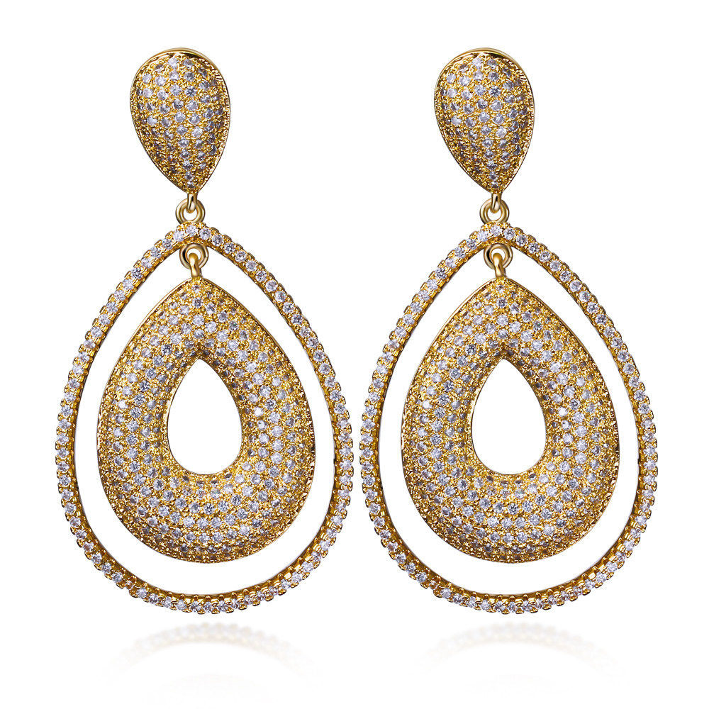 Women Earring big Drop Earrings gold plated with CZ stone Classic style fashion jewelry High quality Free shipment(China (Mainland))