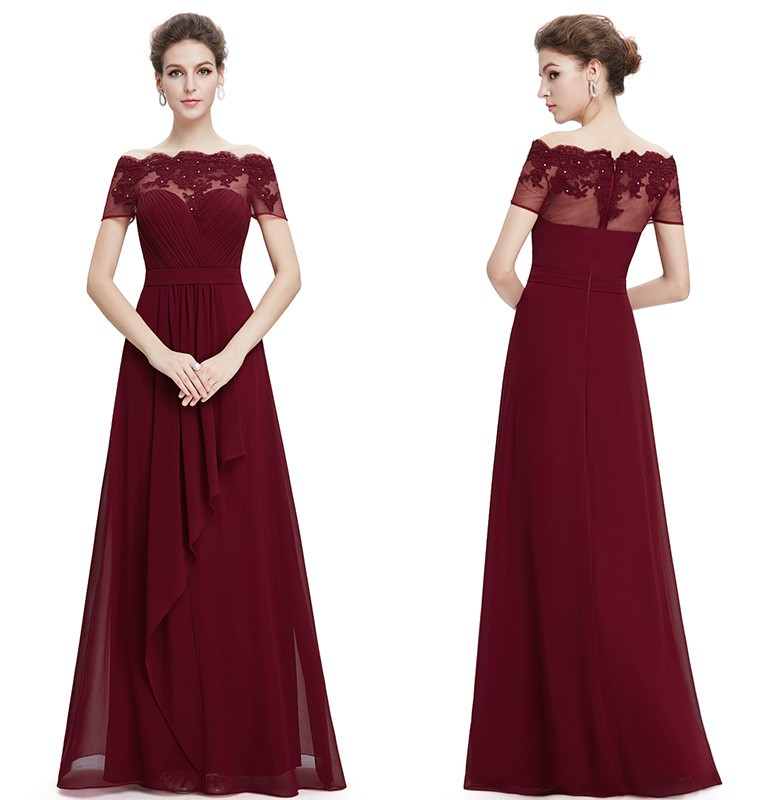 Burgundy Prom Dresses 2016 New Arrival Women Boat Neck Lace Red Prom Dress Plus Size Long Chiffon Prom Dresses(China (Mainland))