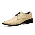 Cheap Snakeskin Surfae Dress Shoes Men Lace Up Black Gold Silver Party Derby Shoes Designer Spring