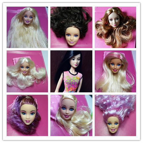 Excellent Quality Lot 5pc Mix Styles Doll Head with Colorized Hair DIY Accessories For Barbie Doll Baby DIY Toys 2015 New Style(China (Mainland))