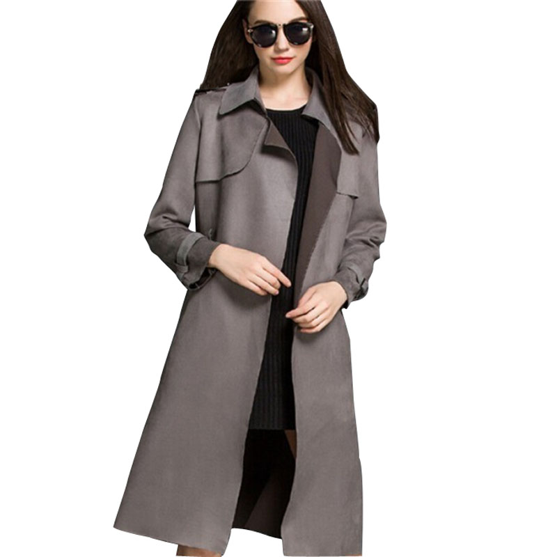 Trench Coat For Women 2015 New Fashion Slim Faux Suede Turn-down Collar Trench Coat European Style Women Coats Plus XL MA0533