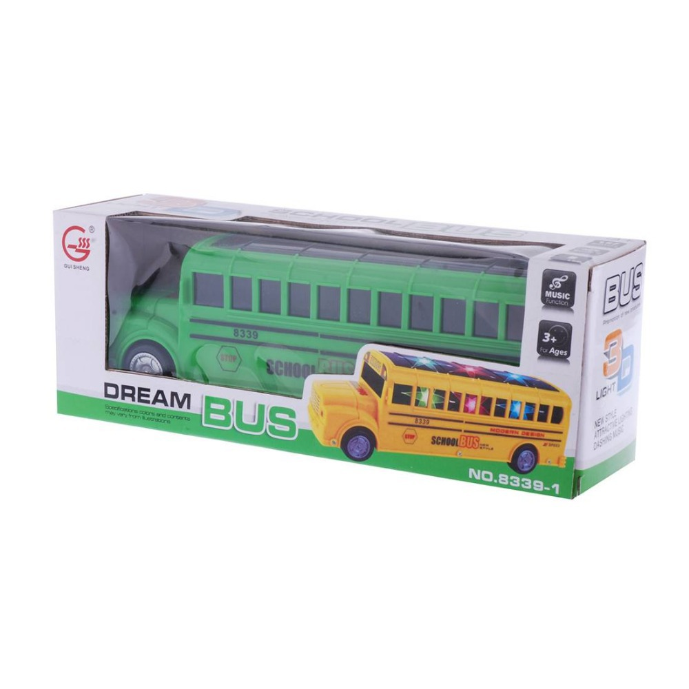 Electric school Bus Toy with Flashing Lights & Music Song, Bump & Go Action 86304(China (Mainland))