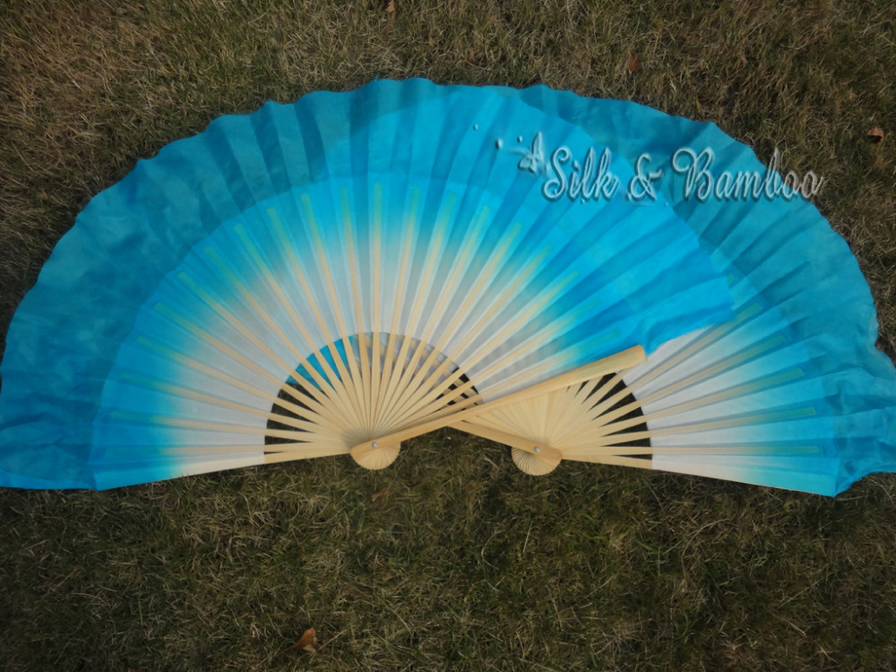 white-turquoise, 1 pair 30cm bamboo+10cm traditional Chinese dance silk fan(flutter), 1 layers real flowy silk!(China (Mainland))