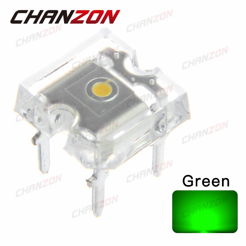 100pcs Super Flux Transparent LED Diode Light Piranha Green Flat Top LED Wide Angle Light Emitting Diode Lamp Rectangle Bulb(China (Mainland))
