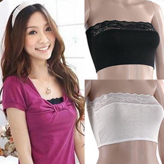 Sexy Lace Stretch Boob Tube Top Bandeau Strapless Padded Bra 3 Color(China (Mainland))