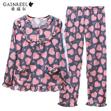Heart shaped song Riel be casual and comfortable long sleeved cotton pajamas men and women couple