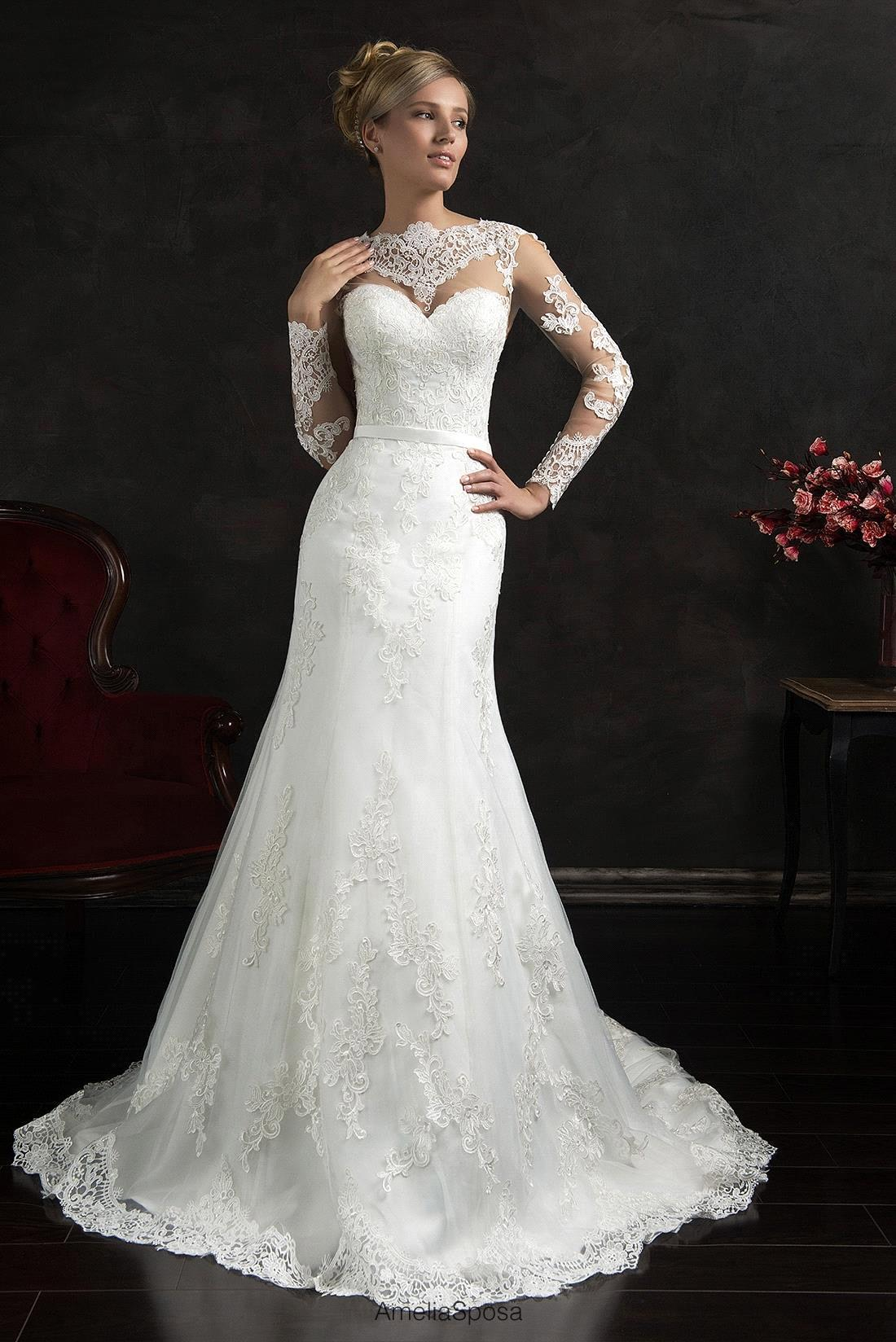 Wedding dresses 2016 mermaid sheer lace long sleeve open for Lace back mermaid wedding dress