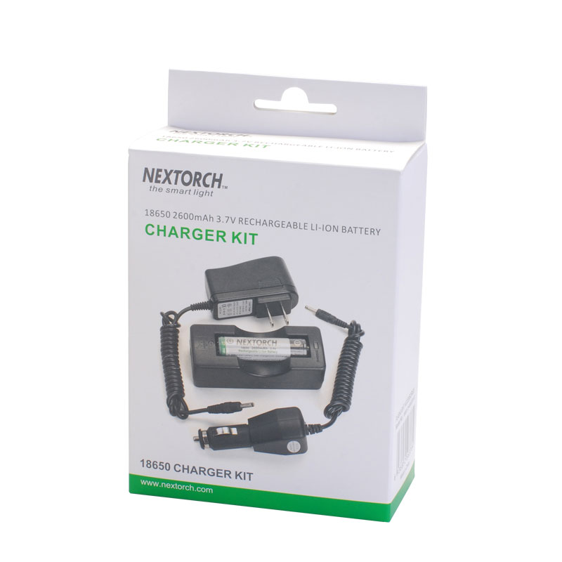 NEXTORCH 18650 Charger Kit United Kindom Standard 2600mAh In-Car Direct Chargers Nextorch Flashlight