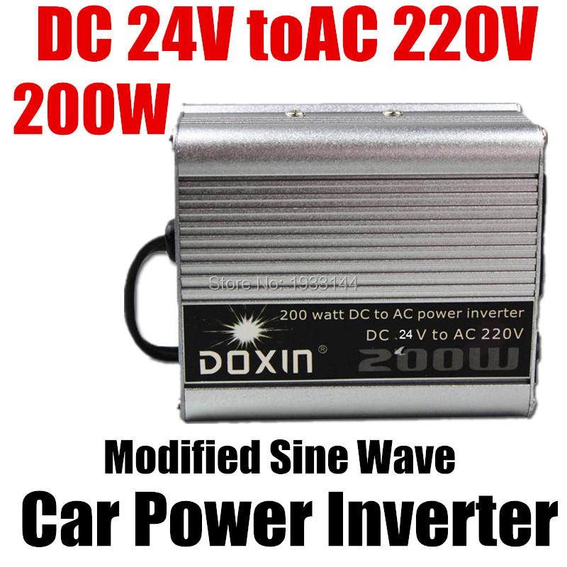 200W Watt Portable Car Automotive Power 24V 220V Inverter Charger Converter power transformer DC 24 to AC 220 Modified Sine Wave(China (Mainland))