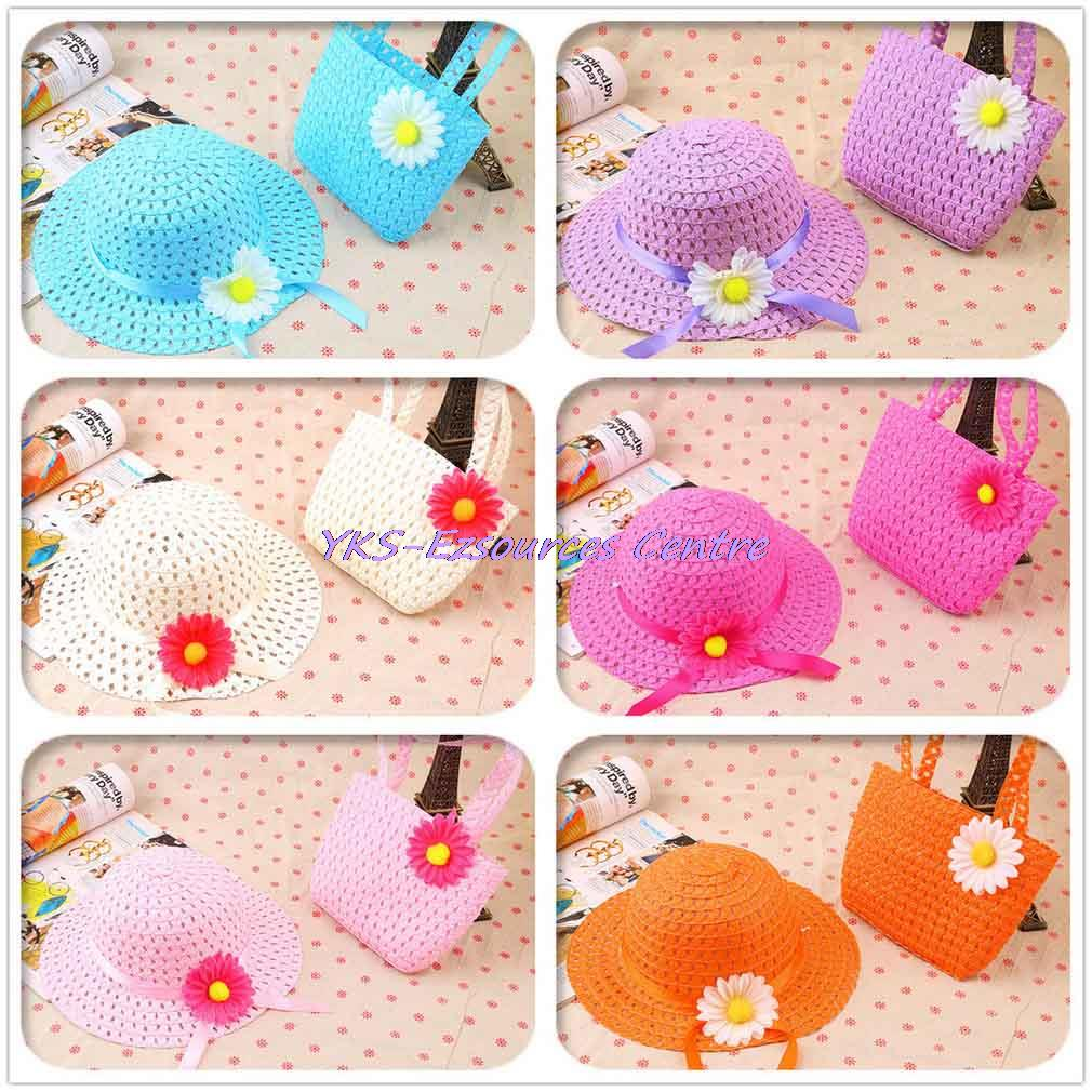 1set Lovely Sunflower Girl Casual Beach Sun Straw Hat Cap + Straw Tote Handbag Bag Set fit 1-4 Years New Hot Selling(China (Mainland))