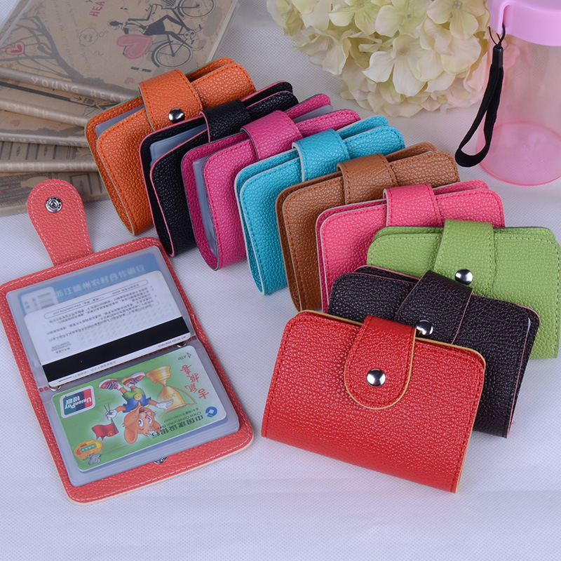 Hot Sale 24 Bits Quality PU Leather Fashion Credit Card Holder Litchi Profile Buckle ID Holders