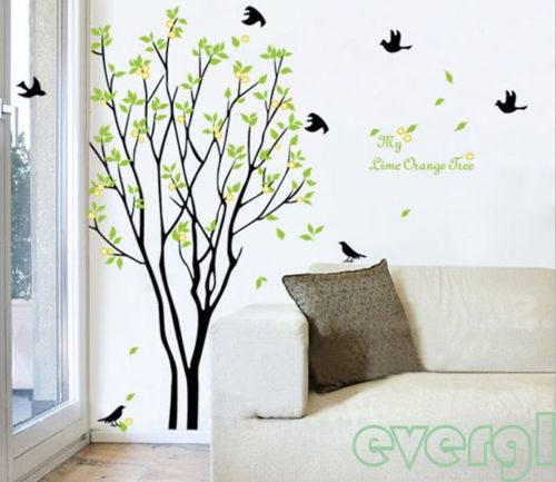 90 60cm lime orange tree wall stickers decals decor art for Home decor 90 off