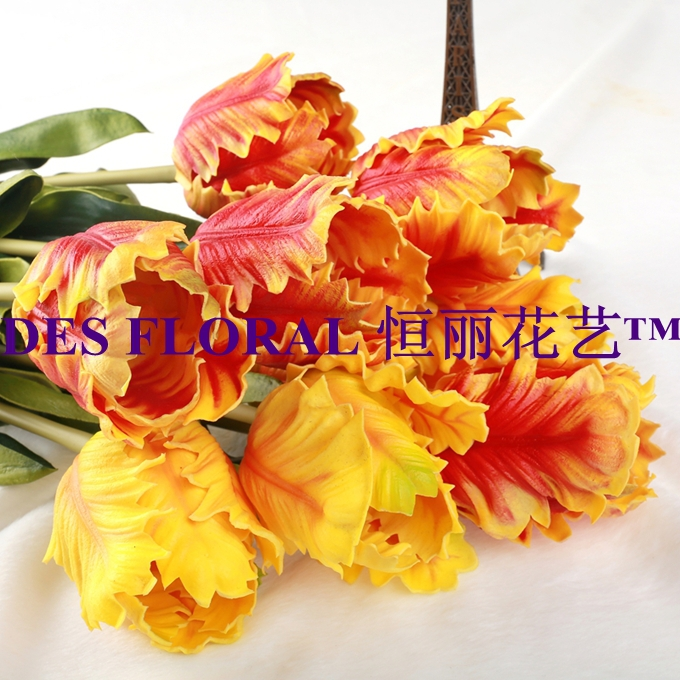 Real touch PU Big Tulip Flower 6PCS/Lot Stem 50CM Yellow and Orange 2 Colors Options for CenterPieces Hotel and Home Decoration(China (Mainland))