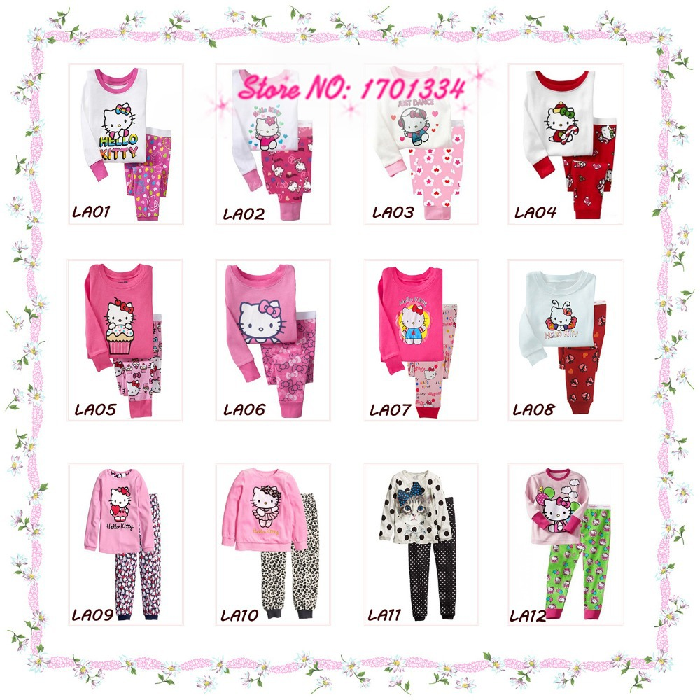 2015 Spring Autumn Hello Kitty Baby Boys Girls Kids Childrens Pijamas Long Sleeve Cotton Pyjamas Sleepwear Pajamas Clothing Sets(China (Mainland))