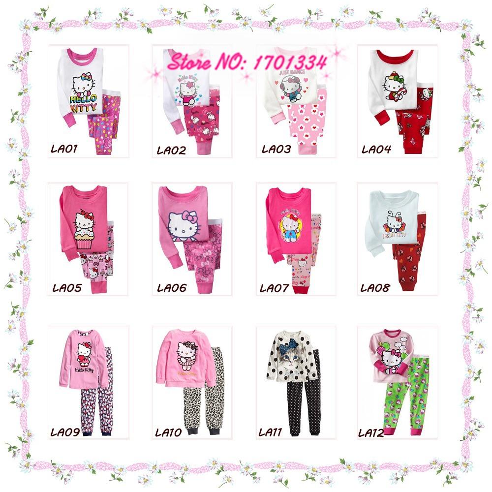2015 Spring Autumn Hello Kitty Baby Boys Girls Kids Childrens Pijamas Long Sleeve Cotton Pyjamas Sleepwear Pajamas Clothing Sets(China (Mainland))