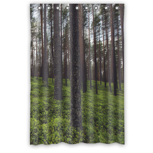 Green forest custom shower curtain 48 x 72 in shower for Forest green curtains drapes