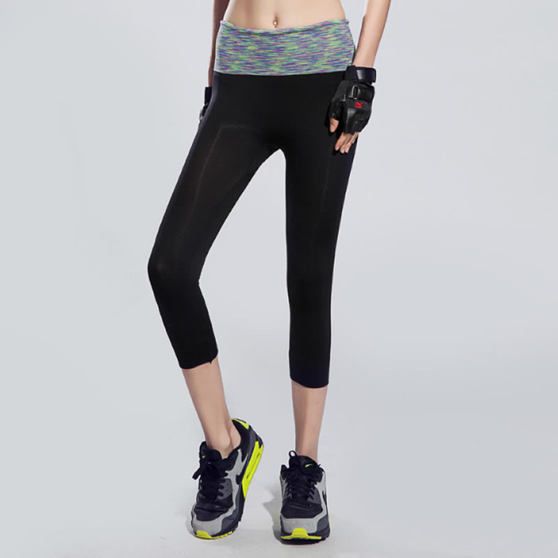 New Women's Stretch Yoga Tight Sports Pants Running fitness pants capris good quality(China (Mainland))