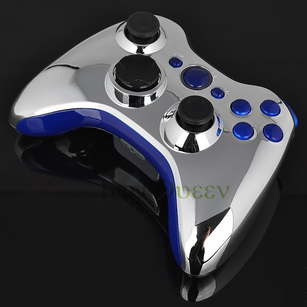 FOR xbox 360 controller chrome silver shell01
