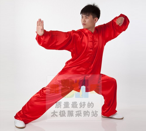 Tai chi clothing wholesale Satin red long sleeved uniforms stretch spinning and martial arts kung fu costume color 80<br><br>Aliexpress