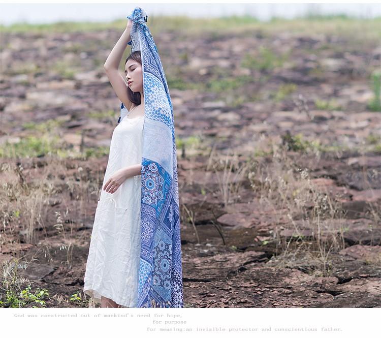 Muslim Hijab Fashion Joker Voile Scarf Printing Color Tassel Shawls Spring Winter Oversized Scarves Pashmina Echarpes Femininos
