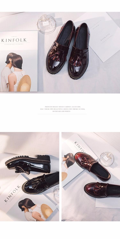 Patent Leather Oxfords Shoes Spring Vintage Tassel Platform Brogue Shoes Woman British Style Slip On Flats DWDX288