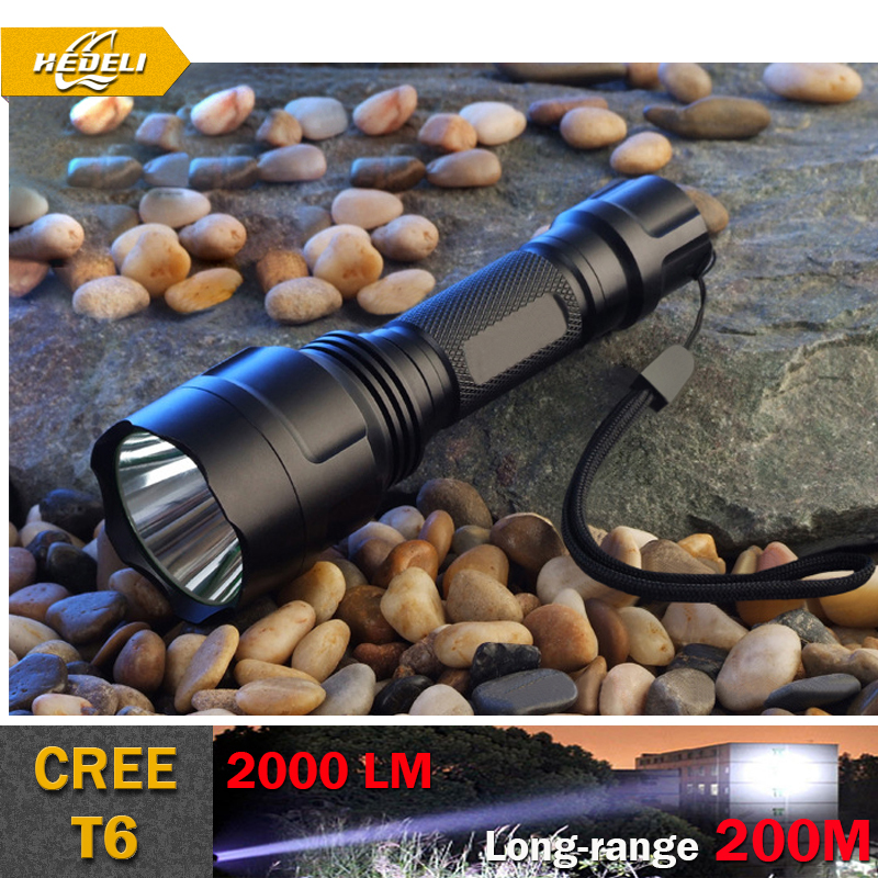 High Quality Lantern De C8 CREE Led Flashlight 2000 Lumens Linterna Led CREE XM-L T6 Torch Light Camping Flash Light Torch Lamp(China (Mainland))
