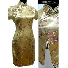 Free Shipping Gold Chinese Women's Satin Qipao Mini Cheong-sam Dress Flower S M L XL XXL XXXL 4XL 5XL 6XL J4030