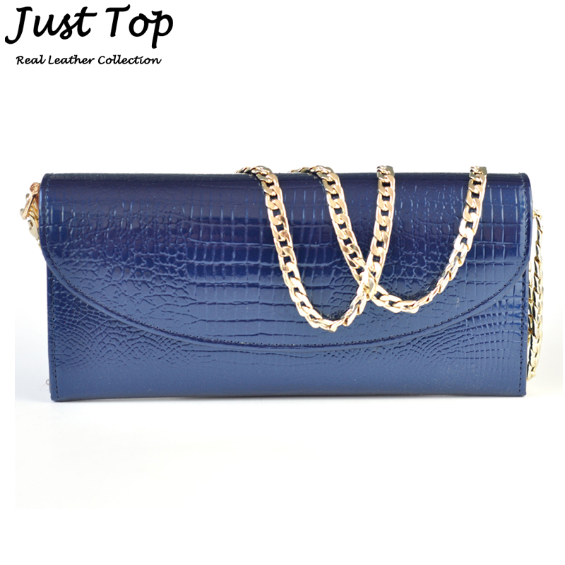 European And American Style 2015 Fashion Crocodile Pattern Recycle Patent Leather Chain Bag Day Clutch Ladies Handbag Messenger(China (Mainland))