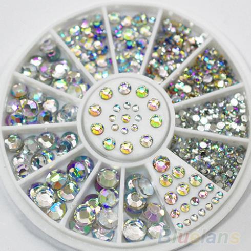 2014 Hot 5 Sizes White Multicolor Acrylic Nail Art Decoration Glitter Rhinestones 1FR1(China (Mainland))