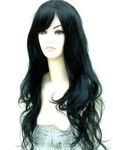 Jet Black Lady Wig Stunning XXX Long extra long straight feathered cut with central skin top parting line(China (Mainland))