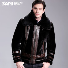New winter clothing leather motorcycle models of locomotive male sheep fur fur coat and Mens Leather(China (Mainland))