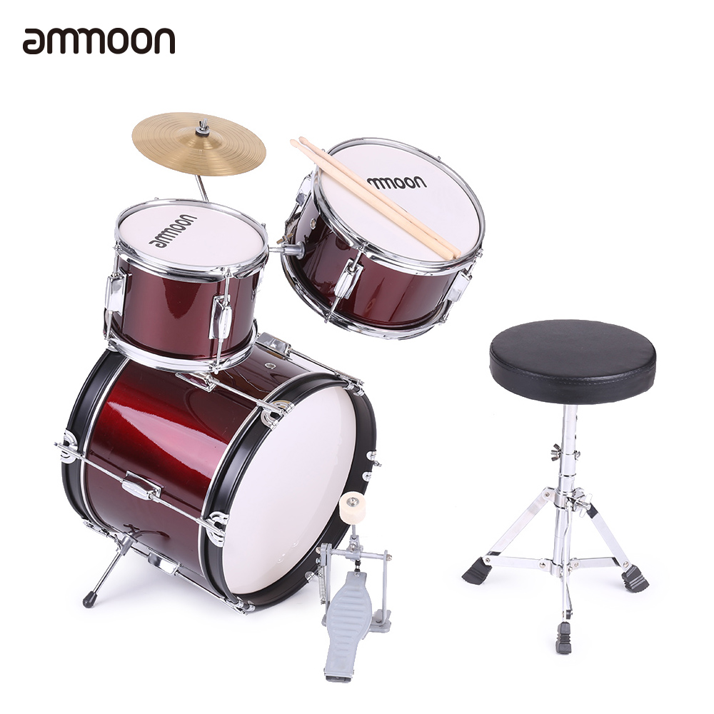 ammoon 3-Piece Kids Children Junior Drum Set Drums Kit Percussion Musical Instrument with Cymbal Drumsticks Adjustable Stool(China (Mainland))